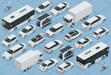 Flat 3d isometric high quality city transport car icon set. Bus, bicycle courier, Sedan, van, cargo truck, off-road, bike, mini and sport cars. Urban public and freight vehihle.