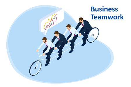 Isometric Goals Setting for Business Team. Creative Idea Teamwork Banner Concept. Business Team Riding Tandem Bicycle. Team success. Business concept illustration