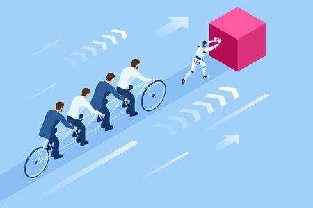 Isometric Goals Setting for Business Team. Creative Idea Teamwork Banner Concept. Business Team Riding Tandem Bicycle. Team success. Business concept illustration 矢量图像