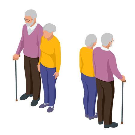 Isometric senior couple. Seniors isolated on white. Elderly woman and man. Aged people. Grandparents Illustration