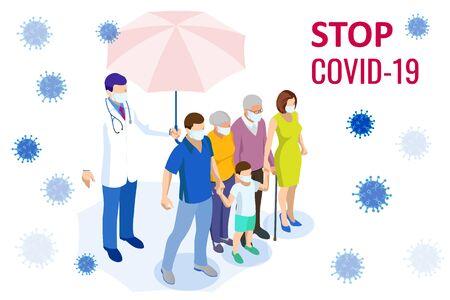 Pandemic coronavirus COVID-19. Coronavirus outbreak, coronaviruses influenza as dangerous flu strain cases as a pandemic medical health risk, virus attacks the respiratory tract Ilustración de vector
