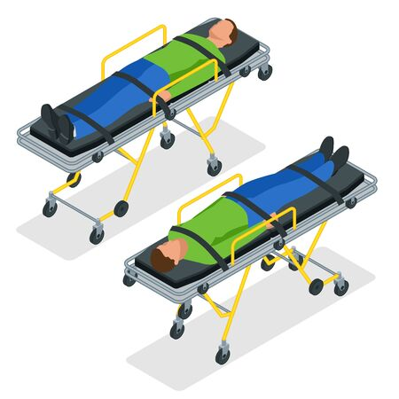 Isometric set of a gurney or wheeled stretchers isolated on white. Healthcare, reanimation, emergency room and medicine concept