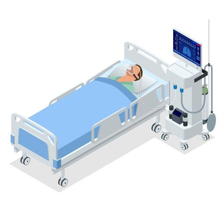 Isometric Ventilator Medical Machine designed to provide mechanical ventilation by moving breathable air into and out of the lungs and for anesthesia of the patient. Vecteurs