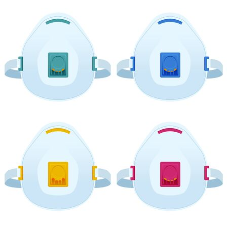 Flat Industrial safety N95 medical respirator or mask illustrations isolated on white. Safety breathing masks.