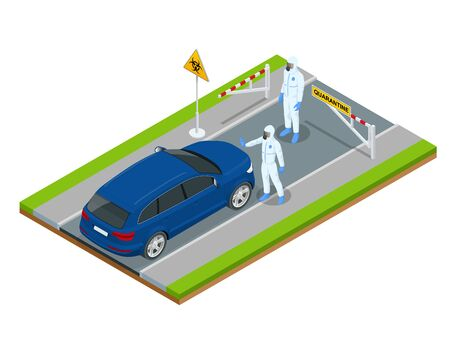 Isometric street of city under quarantine. Coronavirus - staying and working at home. Closed borders policeman blocking road Pandemic prevention. Illustration