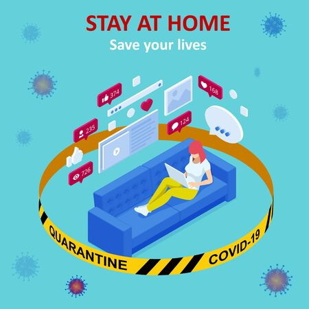 Isometric work from home. Coronavirus - staying and working at home.