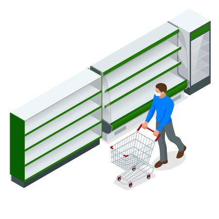 Empty shelves in supermarket store due to coronavirus covid-19 outbreak panic.