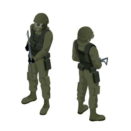 Isometric a soldier in a gas mask and with a gun isolated on white.