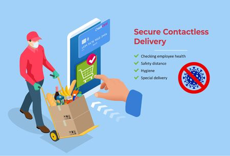 Isometric Delivery man or courier in a medical mask and gloves delivering food to customer at home. Online purchases during a quarantine. Contactless or to the door delivery.
