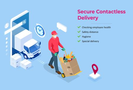 Isometric delivery man or courier in a medical mask and gloves delivering food to customer at home. Online purchases during a quarantine. Contactless or to the door delivery. Vektorgrafik
