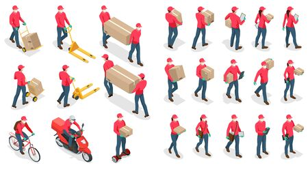 Icônes isométriques du livreur et de la femme ou du courrier dans un masque médical et des gants livrant de la nourriture au client à la maison. Achats en ligne pendant une quarantaine. Livraison sans contact ou à domicile.