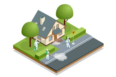 Isometric man in a white suit disinfects the street with a spray gun. Virus pandemic COVID-19. Prevention against Coronavirus disease COVID-19.