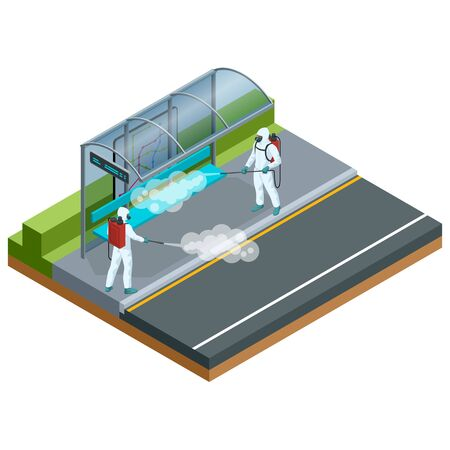 Isometric man in a white suit disinfects bus stop with a spray gun. Virus pandemic COVID-19. Prevention against Coronavirus disease COVID-19. 向量圖像