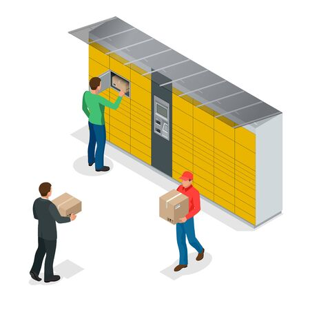 Isometric pack station. The chain of autonomous postal points for self-receipt and sending of postal parcels. This service provides an alternative to home delivery for online purchases.