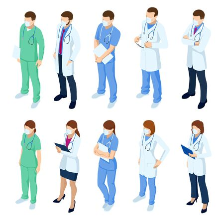 Isometric Set of doctors and nurses characters in white medical face mask. Coronavirus 2019-nCoV. Various male and female medicine workers.
