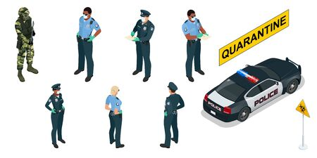 Isometric police officers in medical masks and gloves. Quarantine Control. Coronavirus Prevention. Police characters and police car. Illustration