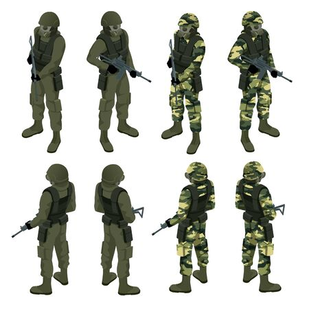 Isometric a soldier in a gas mask and with a gun isolated on white. Protection against chemical or bacterial contamination. Quarantine.