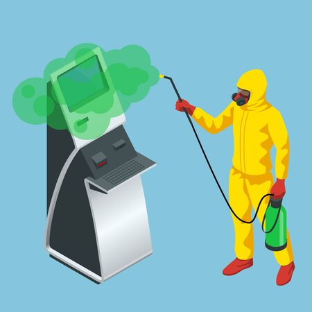 Isometric man wearing a protective suit disinfects online payment systems and self-service payments terminals with spray gun. Virus pandemic COVID-19. Prevention against Coronavirus disease COVID-19.