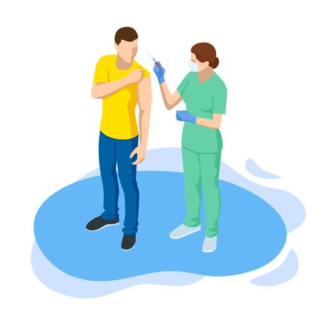 Isometric Time to vaccinate concept. Doctor or nurse, scientist giving patient vaccine, COVID-19, flu or influenza shot or taking blood test with a needle. Medicine, vaccination. Vector Illustration