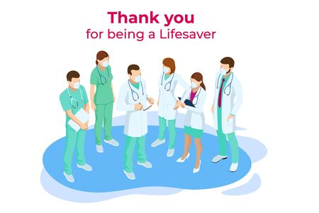 Isometric concept of Thank you doctors and nurses working in the hospitals and fighting the coronavirus. Stop COVID-19.