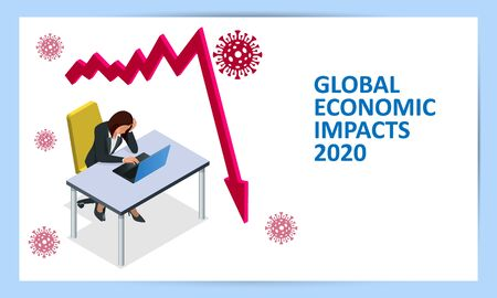 Isometric global economic impacts 2020. Coronavirus or COVID-19 pandemic global impact. Closed border, collapsed world market and economic crisis, panic and food shortages, distance work, and studying Vectores