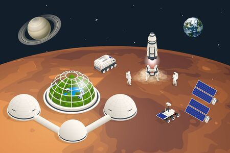 Isometric Mars Colonization, Biological terraforming, Paraterraforming, Adapting humans on Mars. Astronautics, space technology. Communication Center with Residential Compartments, Base Infrastructure Illustration