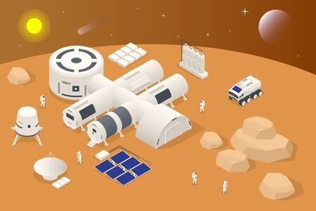 Isometric Mars Colonization, Biological terraforming, Paraterraforming, Adapting humans on Mars. Astronautics, space technology. Communication Center with Residential Compartments, Base Infrastructure Vettoriali