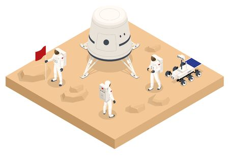 Isometric rocket take-off or landing on Mars. Mars Colonization, Biological terraforming, Paraterraforming, Adapting humans on Mars. Astronautics and space technology