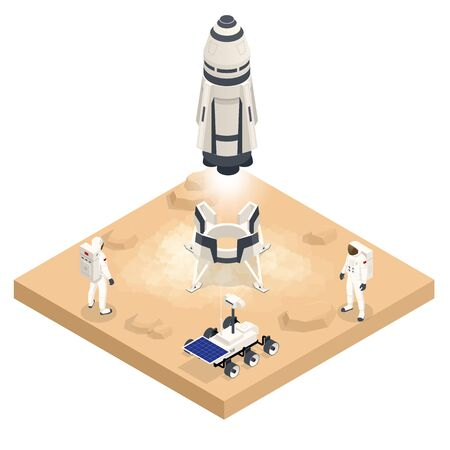 Isometric rocket take-off or landing on Mars. Mars Colonization, Biological terraforming, Paraterraforming, Adapting humans on Mars. Astronautics and space technology.