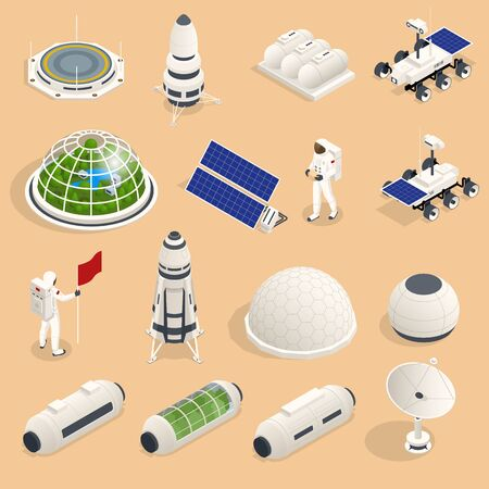 Isometric set of icons Space Equipment and Vehicles of space exploration with rockets artificial satellites, planets with Astronauts, isolated. Illustration