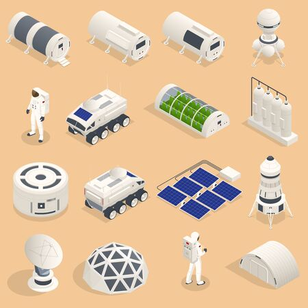 Isometric set of icons Space Equipment and Vehicles of space exploration with rockets artificial satellites, planets with Astronauts, isolated.