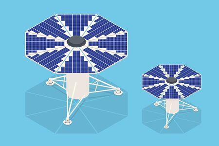 Isometric Solar Panels. The new solar battery generates a pure electricity Vektorové ilustrace