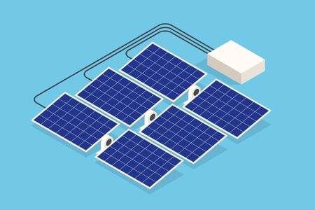 Isometric Solar Panels. The new solar battery generates a pure electricity
