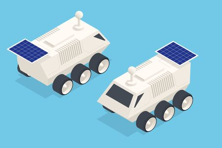 Isometric Rover Moon or Mars Rover, robotic space autonomous vehicle. Space expedition.