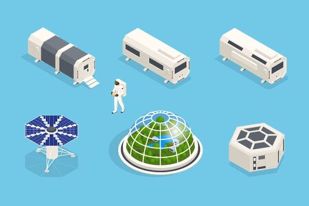 Isometric set of icons Space Equipment and Vehicles of space exploration with rockets artificial satellites, planets with Astronauts, isolated