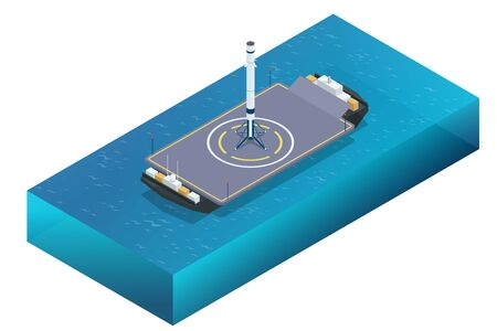 Isometric take-off and landing of a rocket from a ship. Military sea transport. International army. Rocket, launch vehicle, satellite, launch pad, payload.