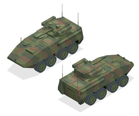An armoured personnel carrier APC , broad type of armoured, military vehicles designed to transport personnel and equipment in combat zones. BMP on a unified platform with a tower module
