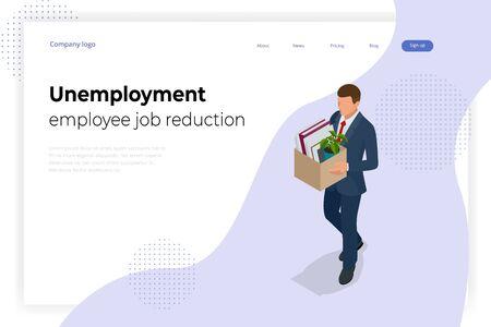 Isometric dismissal, severance, termination in case. Economic crisis caused by coronavirus. Unemployment, jobless and employee job reduction metaphor.