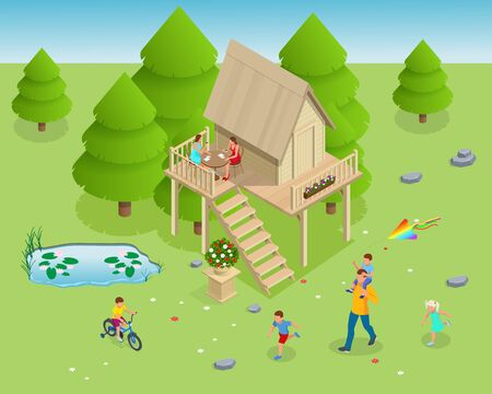 Isometric wooden house in the forest on the background of fir trees. Summer family vacation. Tree house in the evening garden Banque d'images - 147056968