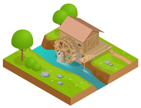 Isometric wooden water mill. Working watermill wheel with falling water.