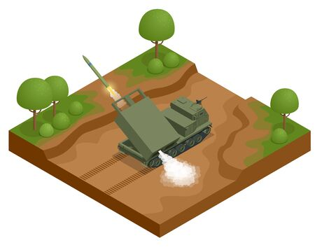 Isometric Multiple rocket launcher icons set isolated on white. Multiple Launch Rocket System is an armored, self-propelled, multiple rocket launcher a type of rocket artillery. Army.