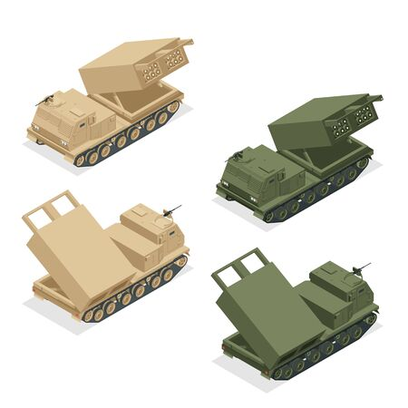 Isometric Multiple rocket launcher icons set isolated on white. Multiple Launch Rocket System is an armored, self-propelled, multiple rocket launcher a type of rocket artillery. Army 向量圖像