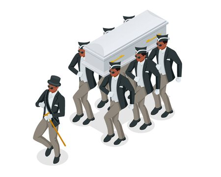Dancing Coffin. Meme with black men who carry the coffin and dance. Isometric illustration Vector Illustratie
