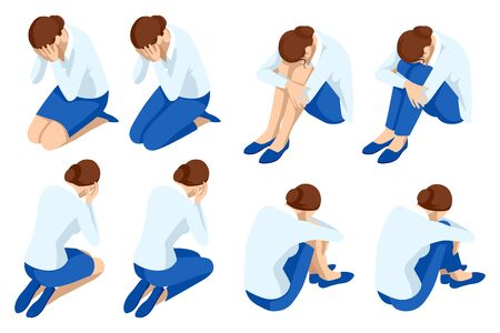 Depressed women. Sad woman hug her knee and cry, Crying wwoman. Icons isometric set.