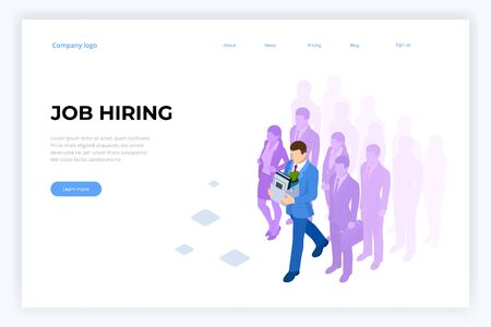 Isometric hiring and recruitment, job candidates and job centre concept. Job interview, recruitment agency. HR job seeking.