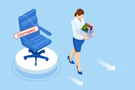Unemployment, loss job, crisis, jobless and employee job reduction. Dismissed sad man carrying box with her things. Isometric vector illustration Ilustracja