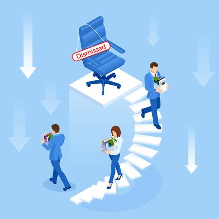 Unemployment Isometric vector illustration
