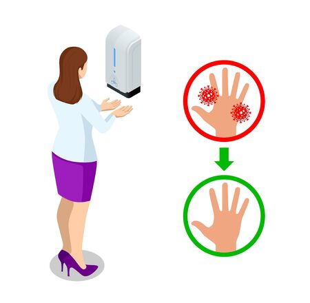 Isometric automatic alcohol hand sanitizer dispenser protection coronavirus Covid-19. Rubbing alcohol, wall mounted soap dispenser, wall hanging hand wash container Covid-19 spread prevention.