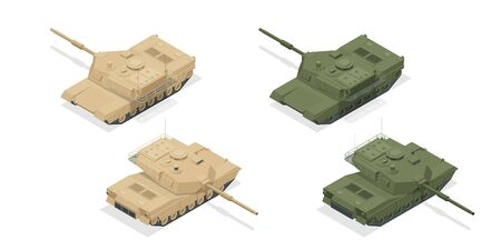 Isometric American main battle tank M1A2 icons isolated on white high quality vector illustration. Heavy, reservations and special transport. Equipment for the war.