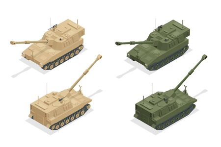 Isometric M109 is an American 155 mm turreted self-propelled howitzer. Self-propelled gun. Howitzer isolated on white high quality vector illustration. Equipment for the war.
